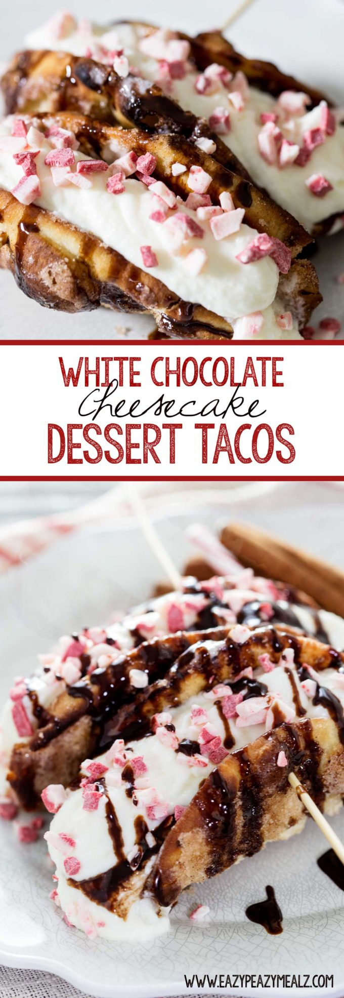 White Chocolate Cheesecake Dessert tacos, peppermint dessert ideas, simple dessert