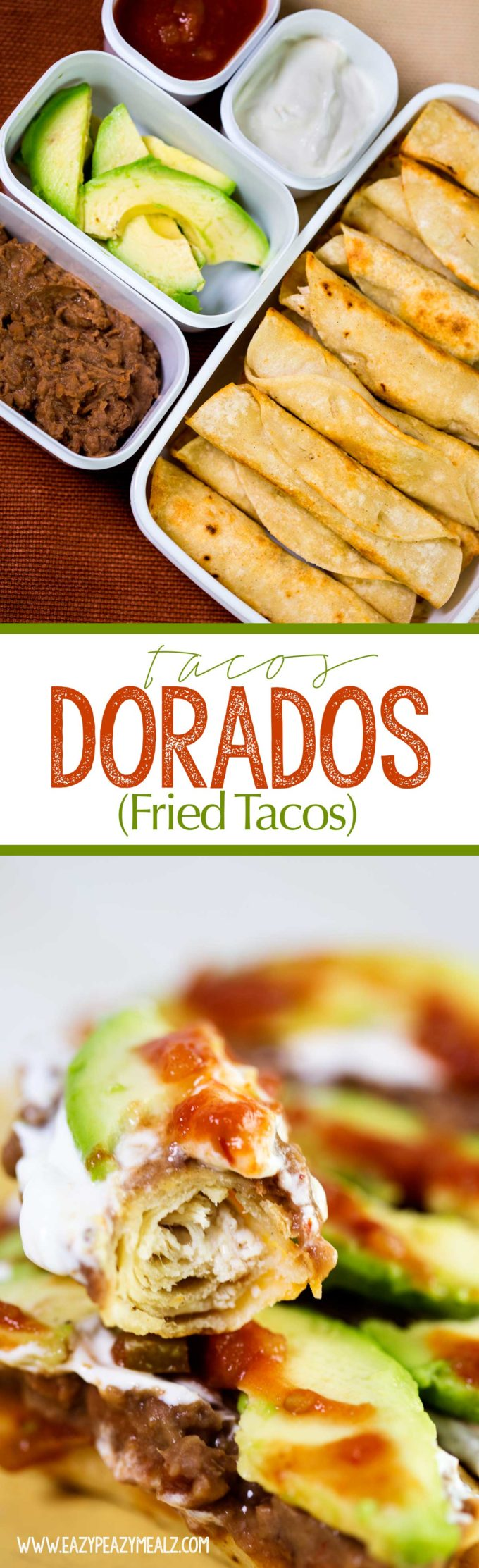 Tacos Dorados AKA fried tacos are stuffed with tender chicken and cheese and topped with all your favorites. A great lunch, dinner, or game day good.