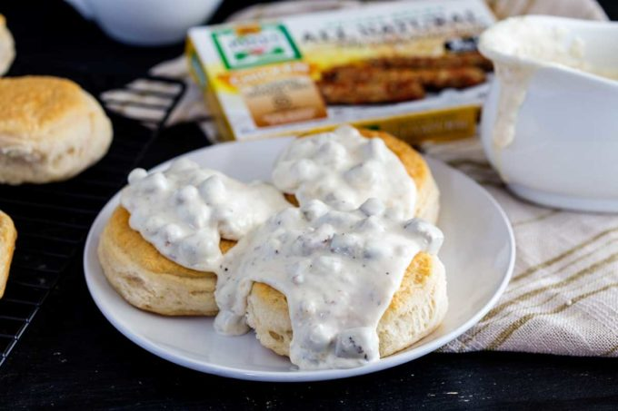 Biscuits and chicken sausage gravy, a hearty meal, a simple breakfast