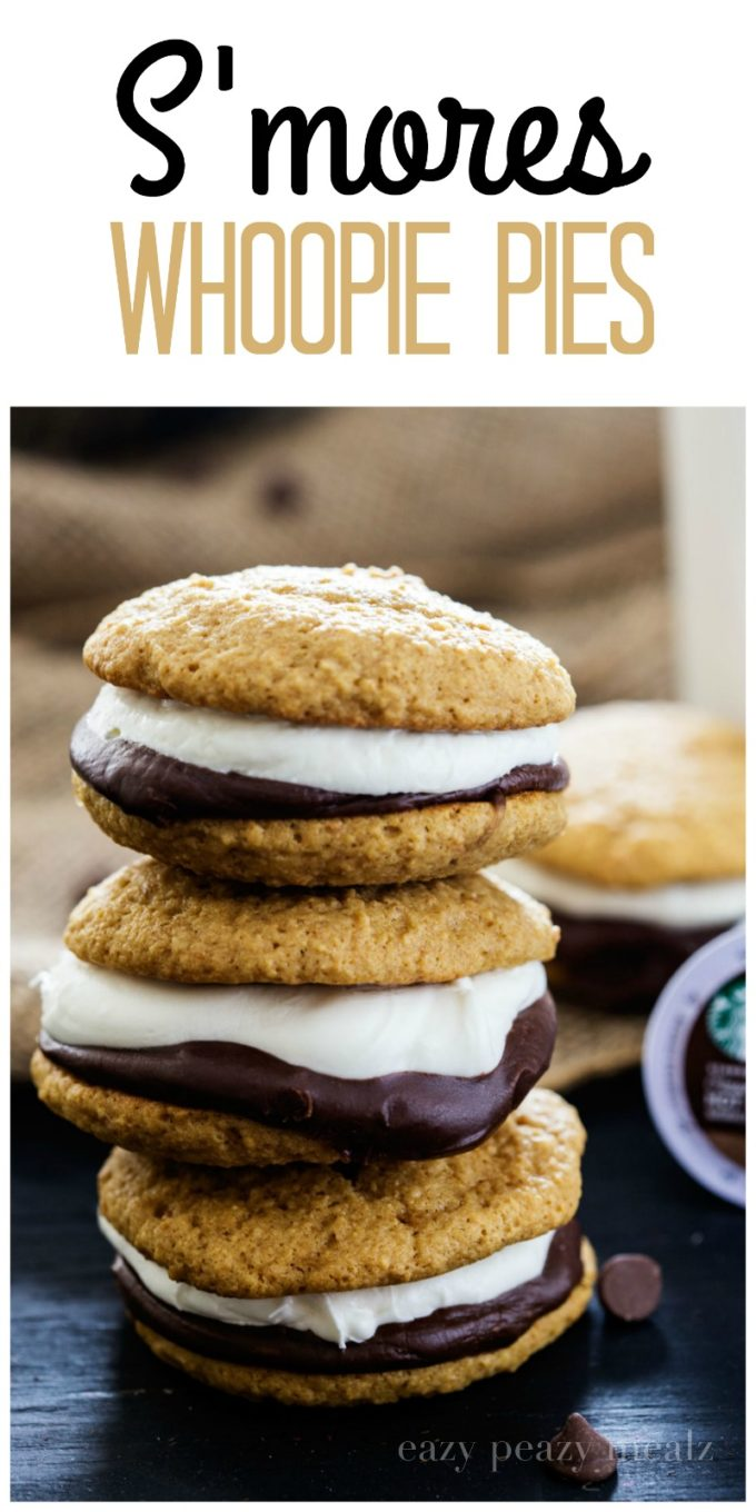 S'mores Whoopie Pie: Graham cracker cake cookies with chocolate ganache and a tasty marshmallow buttercream, that perfectly compliments the new Starbucks® Hot Cocoa K-Cup® pods.