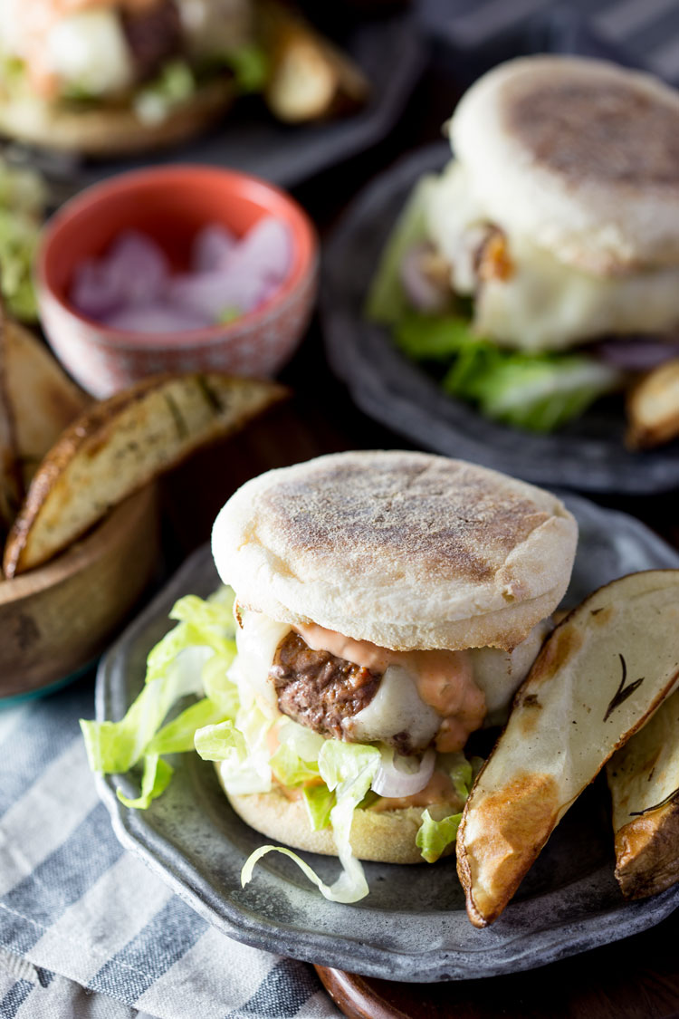Blue apron pork burgers - Swiss Cheeseburgers On English Muffins With Rosemary Roasted Potato Wedges Blue Apron Recipe