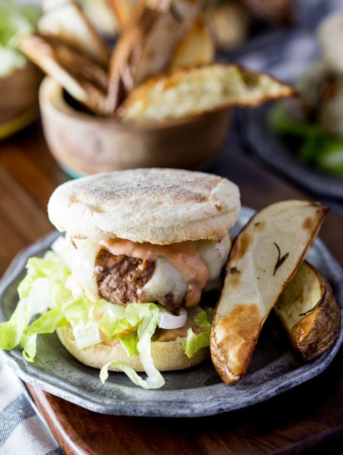 Swiss Cheeseburgers on English Muffins with Rosemary Roasted Potato Wedges, Blue Apron Recipe