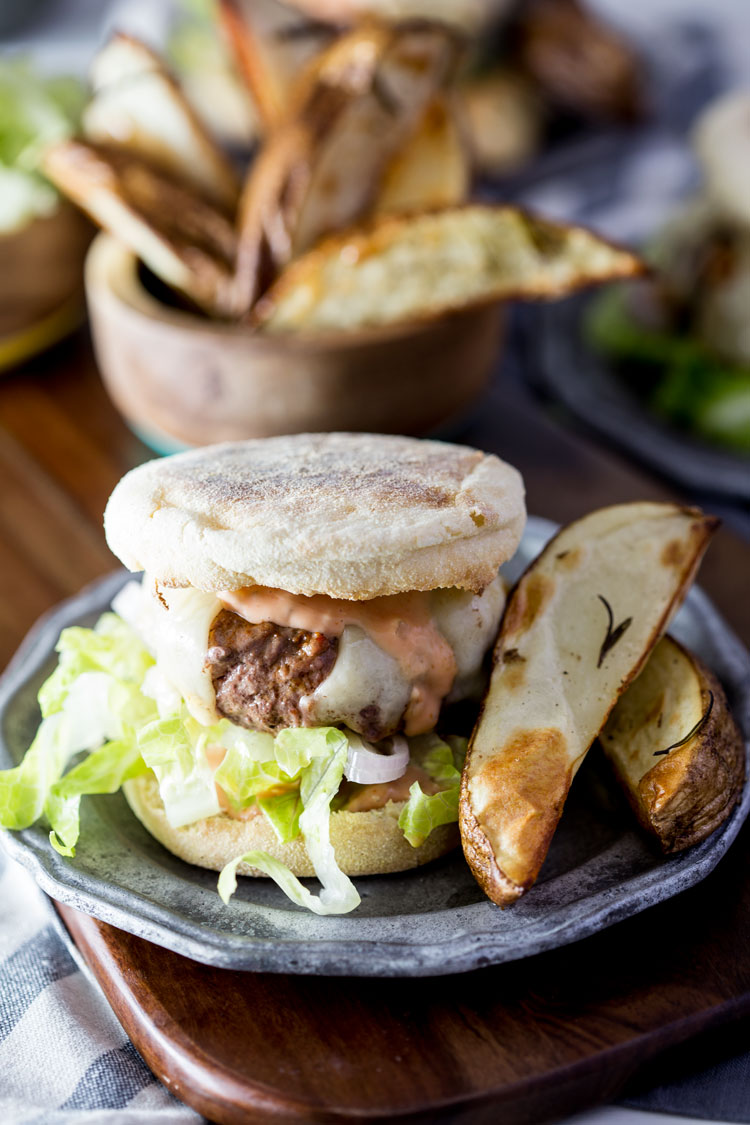 Blue apron pork burgers - Swiss Cheeseburgers On English Muffins With Rosemary Roasted Potato Wedges Blue Apron Recipe Eazy Peazy Mealz