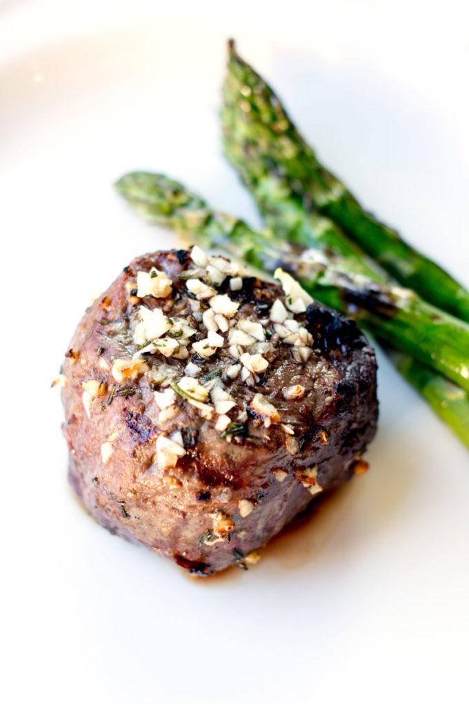 Garlic clove marinated grilled steak
