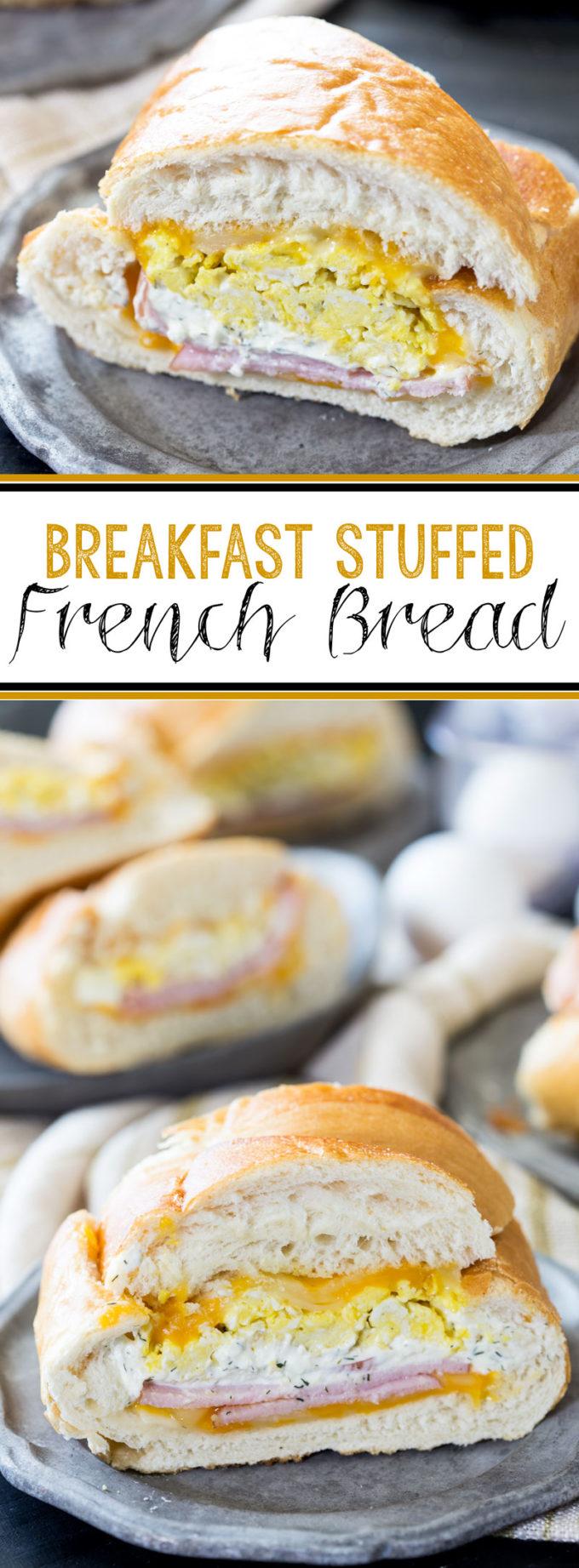 Breakfast stuffed french bread