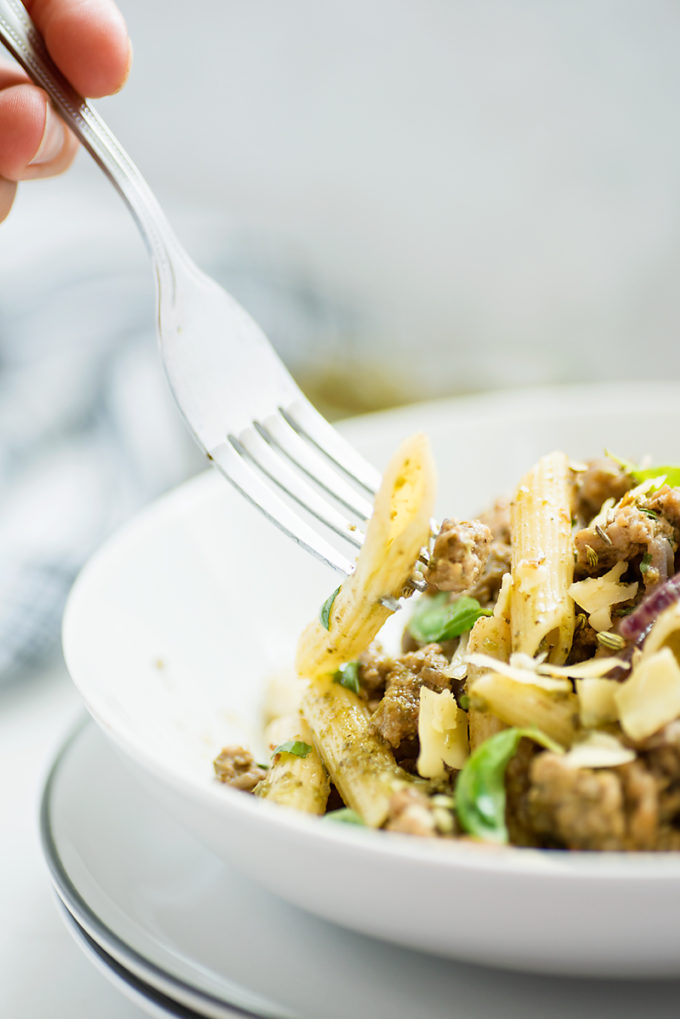 Italian Sausage and Basil Pesto Penne