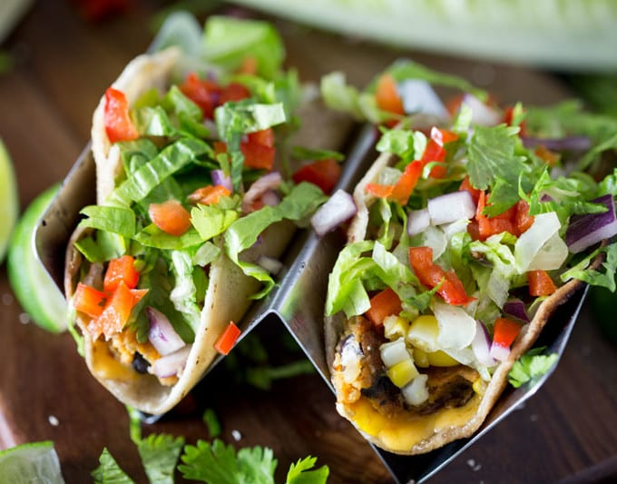Black bean tacos with corn, tomatoes, etc.