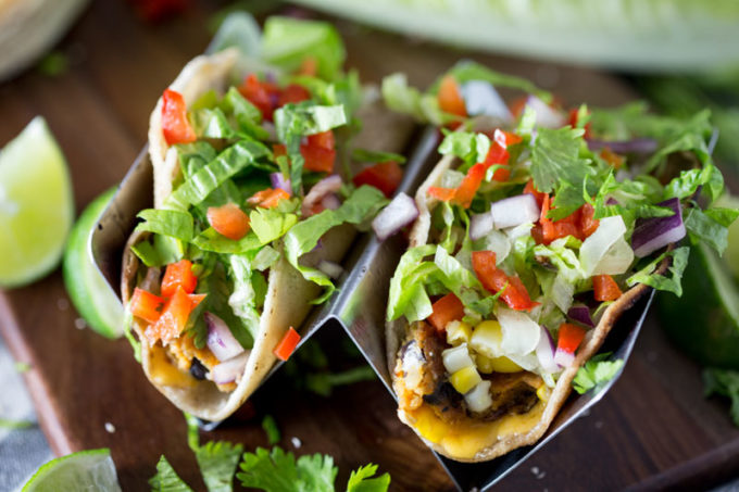 Black bean tacos with corn, tomatoes, etc. a delicious dinner recipe