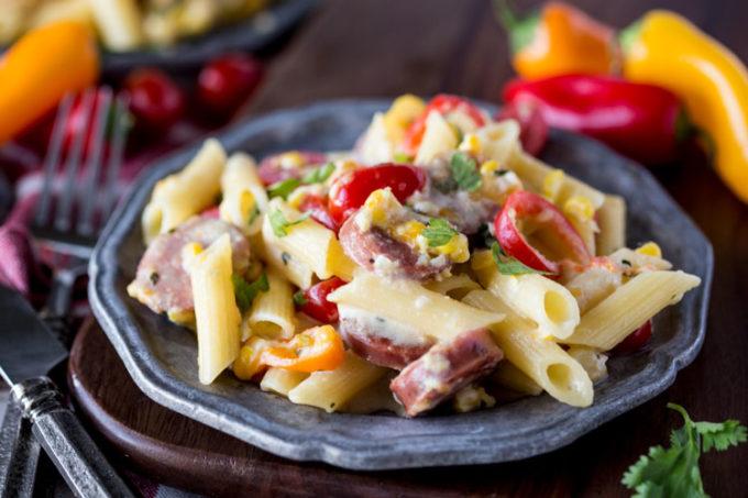 Creamy jalapeno alfredo pasta with chicken sausage
