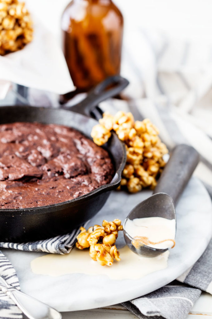 vanilla ice cream and a brownie skillet makes the best dessert