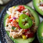 Tuna salad stuffed avocados