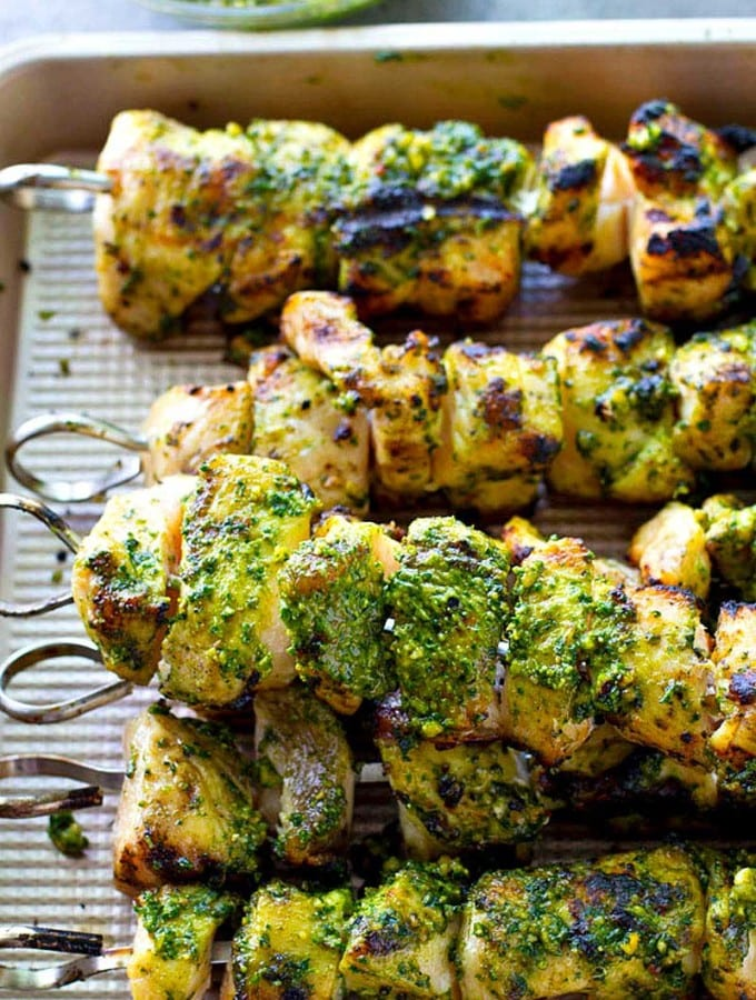 I took these to a BBQ and everyone went crazy for them. Chipotle Pesto Chicken Skewers.