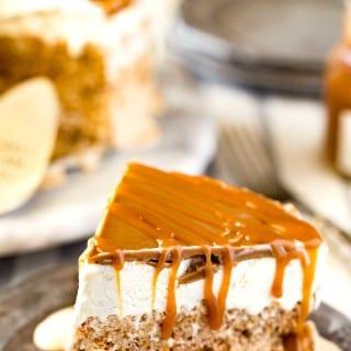 Cookie Ice cream cake recipe with caramel