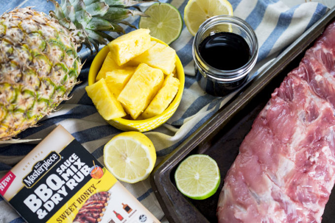 Fall off the bone tender island style pineapple BBQ pork ribs cooked in the slow cooker ingredients