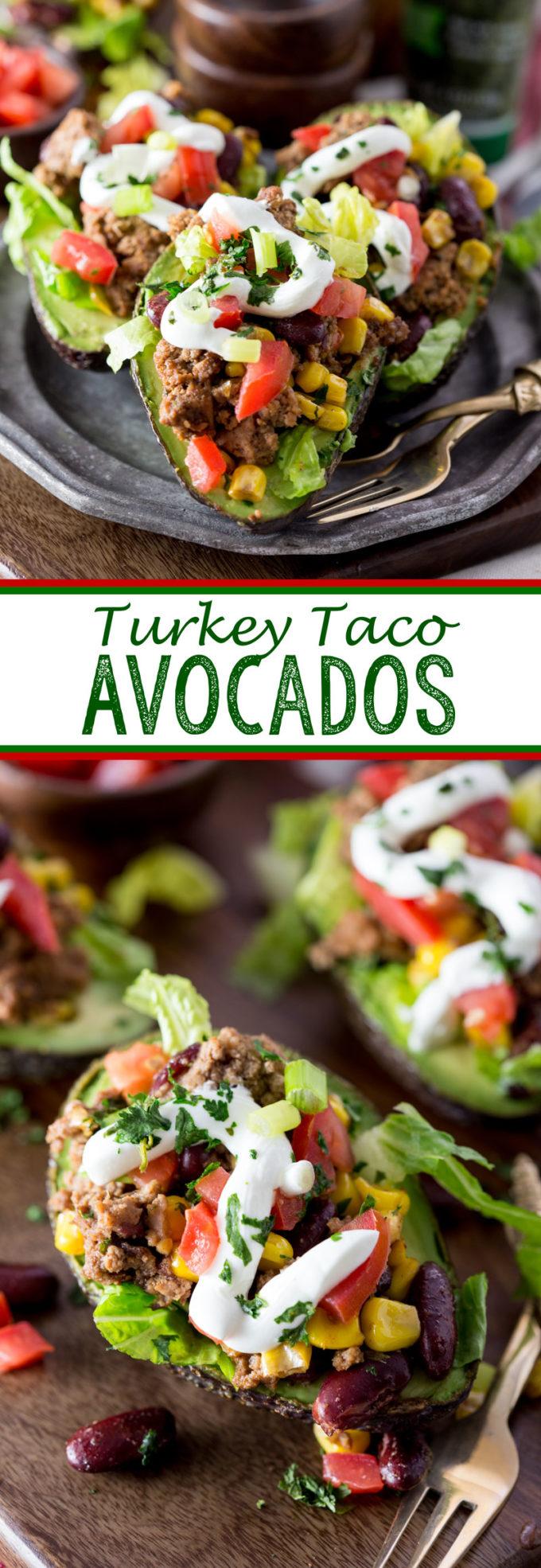 Turkey Taco Avocados, stuffed avocados with ground turkey, beans, corn, etc.