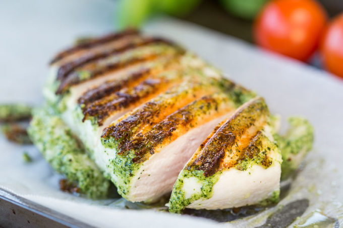 BBQ Basil Pesto Grilled Chicken - Pesto leaves, garlic, pine nuts and a dollop of olive oil will have you on the way to some succulent grilled chicken for dinner.