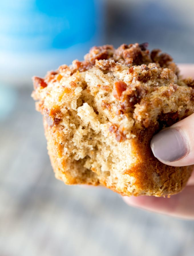 Bacon brown sugar streusel protein spice muffins
