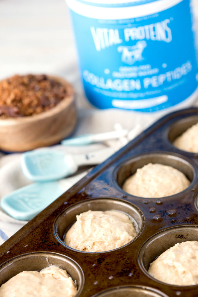Protein spice muffins with bacon brown sugar streusel