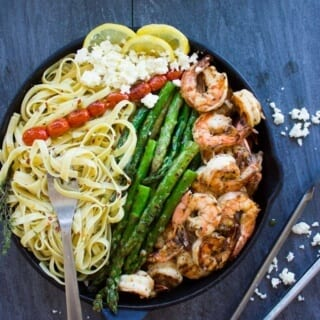 Asparagus Shrimp Pasta Dinner