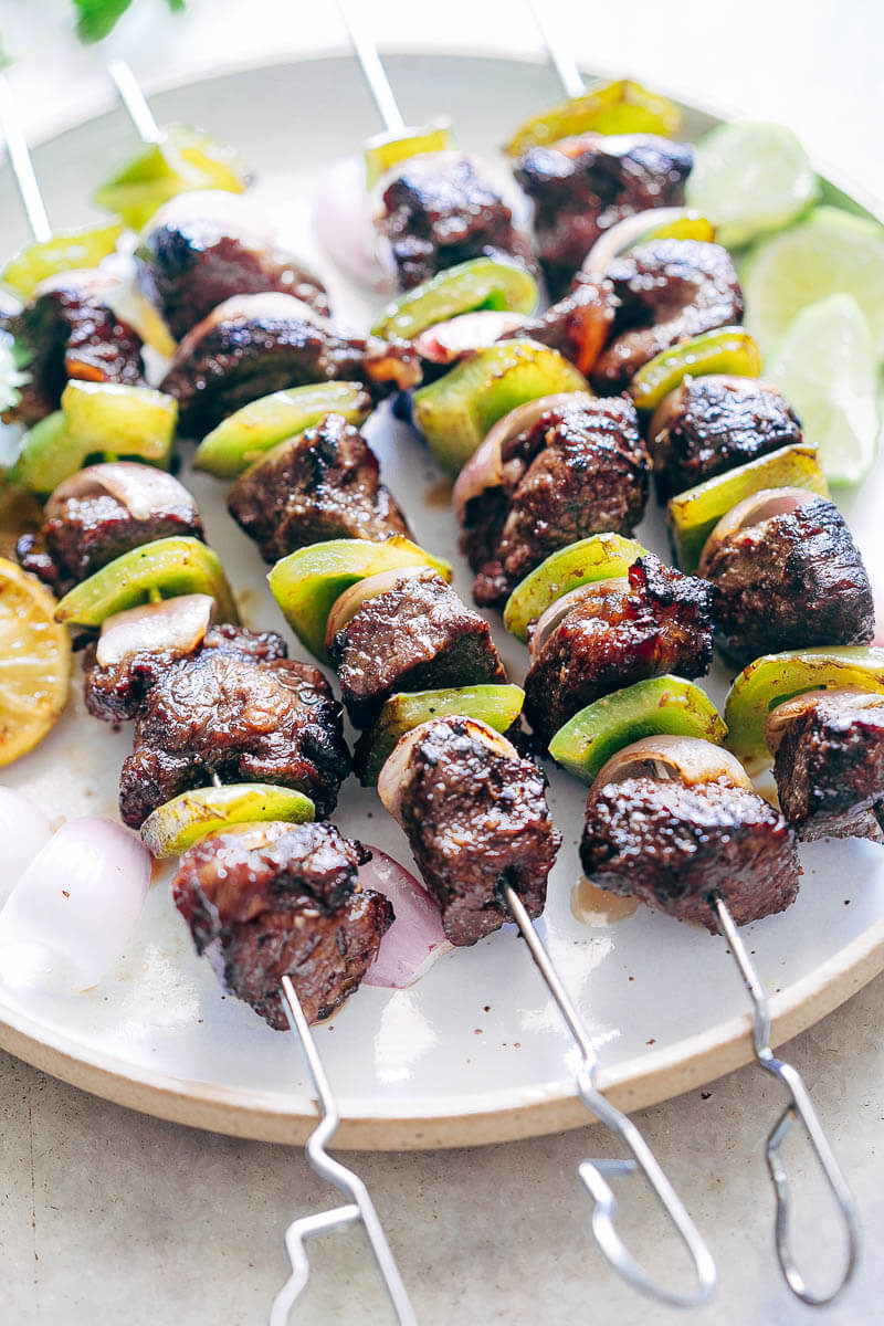 Balsamic rosemary beef kabobs are a delicious, tender, flavorful kabob