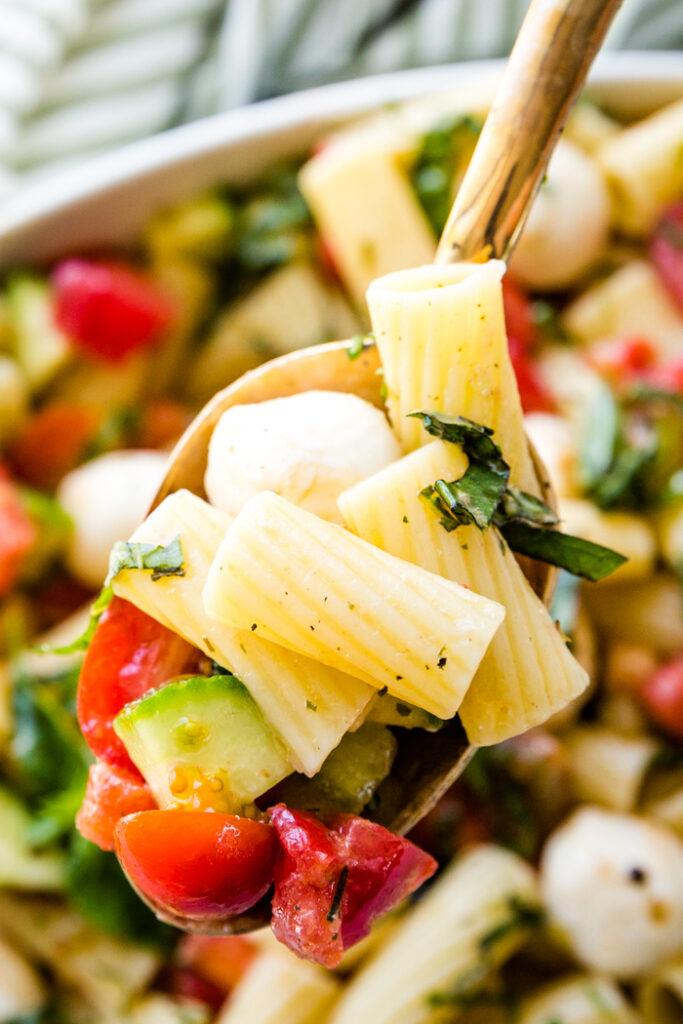 close up of pasta Caprese salad