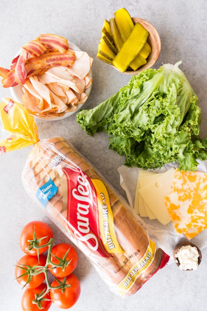 Easy chicken club sandwich ingredients with Sara Lee butter bread