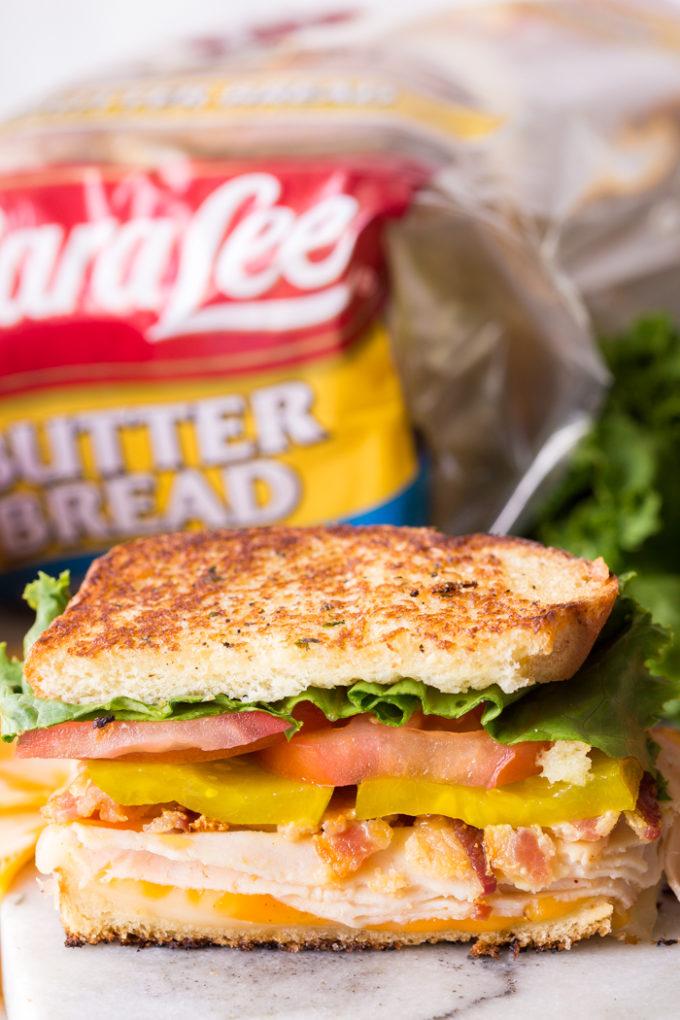 delicious Sara Lee bread made into a chicken club sandwich