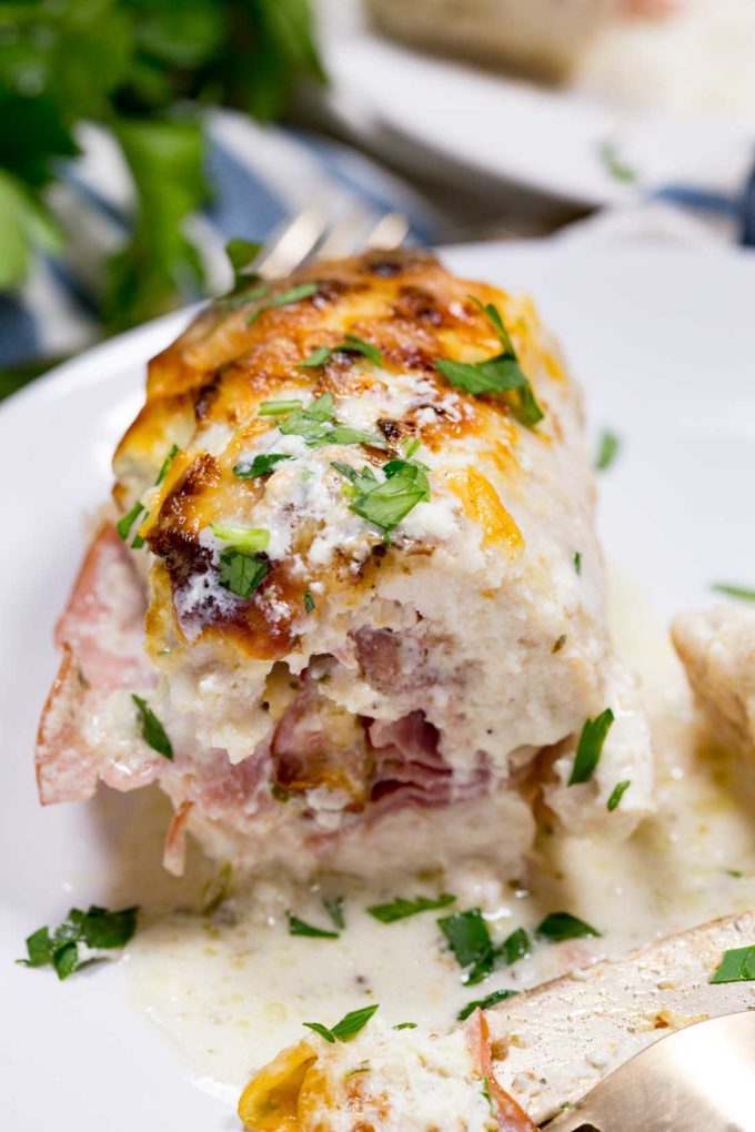 Chicken cordon bleu roll ups are moist, delicious, and baked to perfection