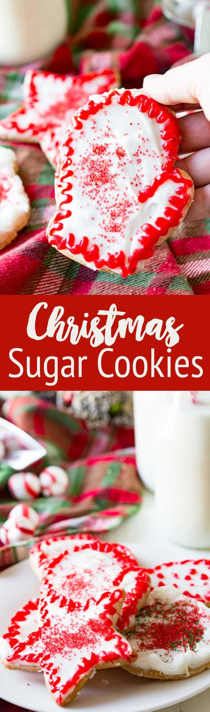 Christmas Sugar Cookies that are cut out cookies, topped with frosting, and excellent for decorating and eating.