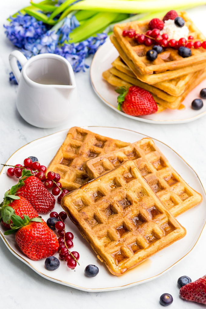 Delicious fluffy interior and crispy exterior, these classic waffles are a family favorite for a reason.