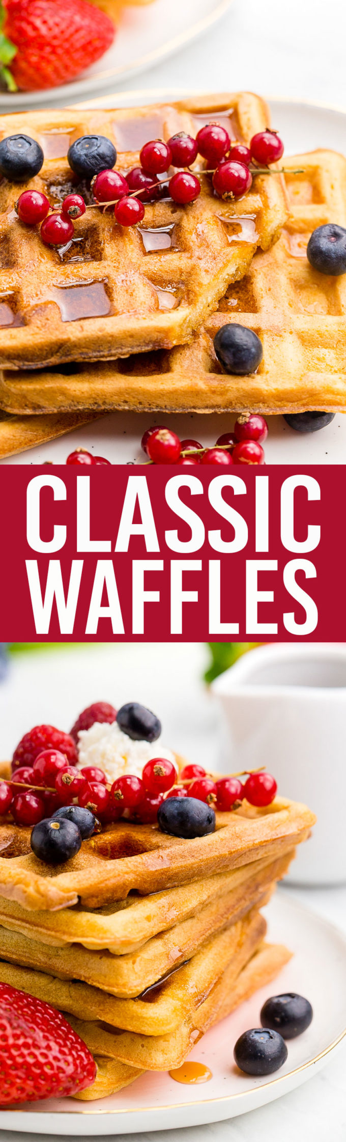 This Classic Waffles recipe is amazing, crispy exterior, tender fluffy interior. Yum.
