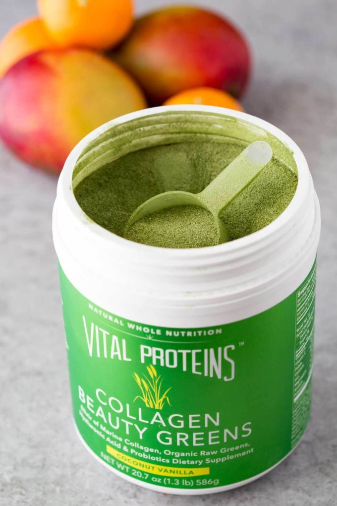 A canister of Vital Protein Collagen Beauty Greens