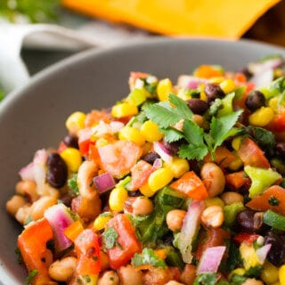 Cowboy Caviar is a bean salsa