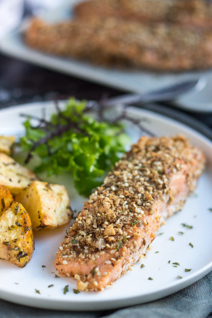 Dukkah Crusted Baked Salmon Fillets Eazy Peazy Mealz