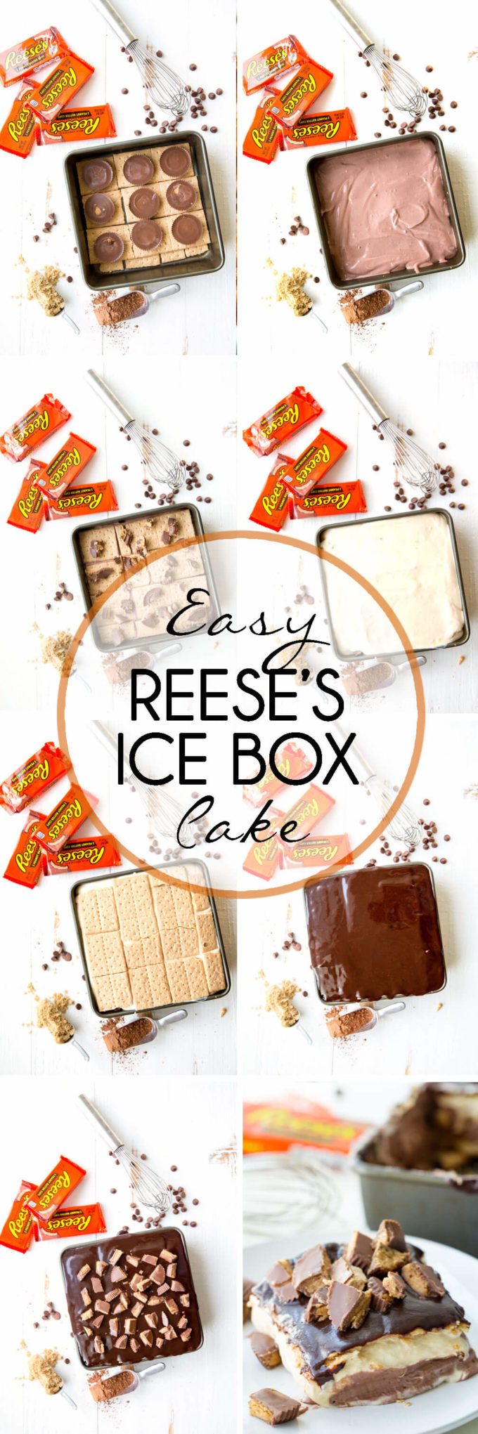 Reese's Ice Box Cake, layers of sweets covered in hot fudge sauce and peanut butter goodness