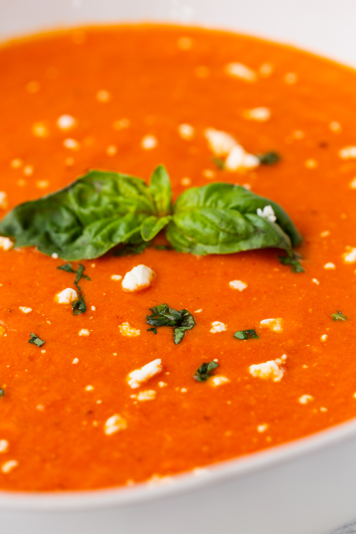 close up image of feta tomato soup keto