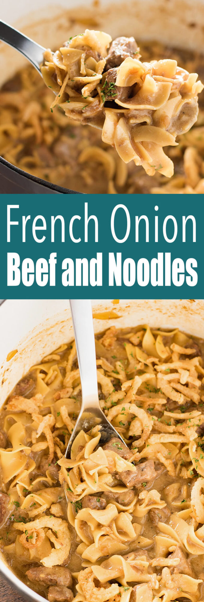 French Onion Beef and Noodles is a quick and delicious dinner similar to a beef stroganoff