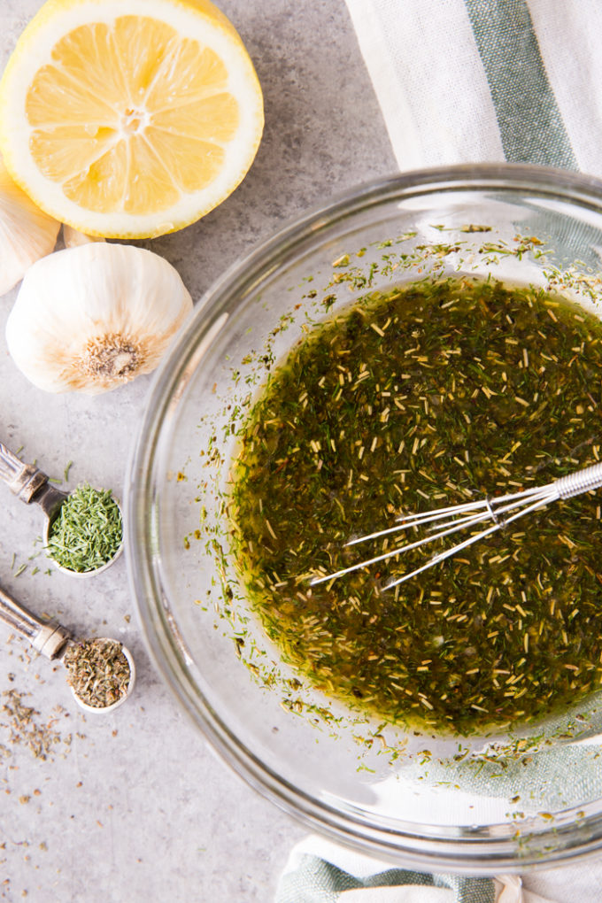 Whisk everything together for Marinade for Greek Chicken