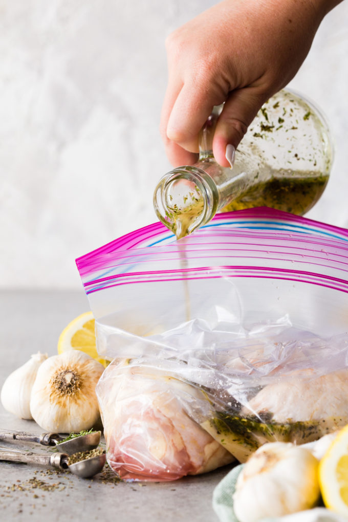 Greek Chicken Marinade, the perfect combination of garlic, lemon, and herbs for chicken