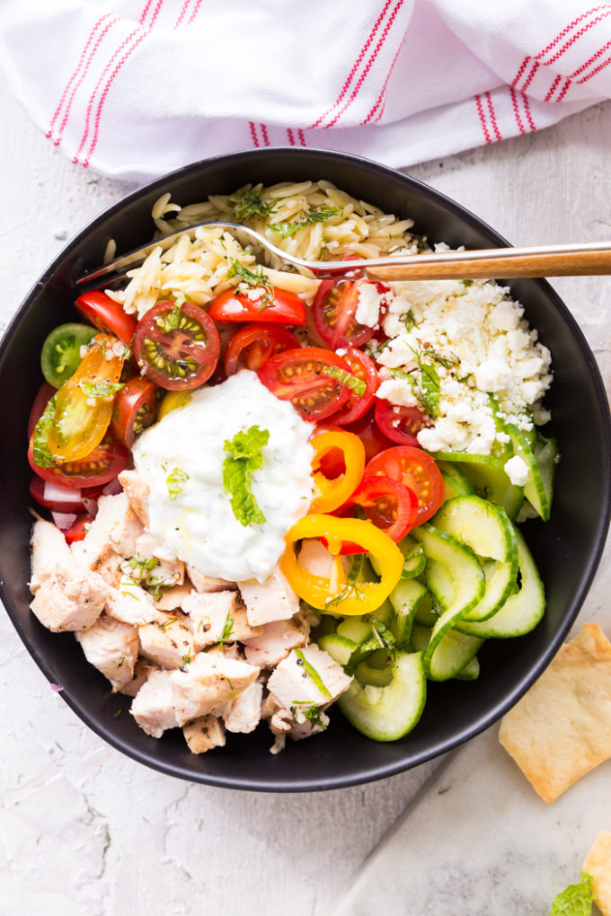 Greek Chicken Orzo Bowl