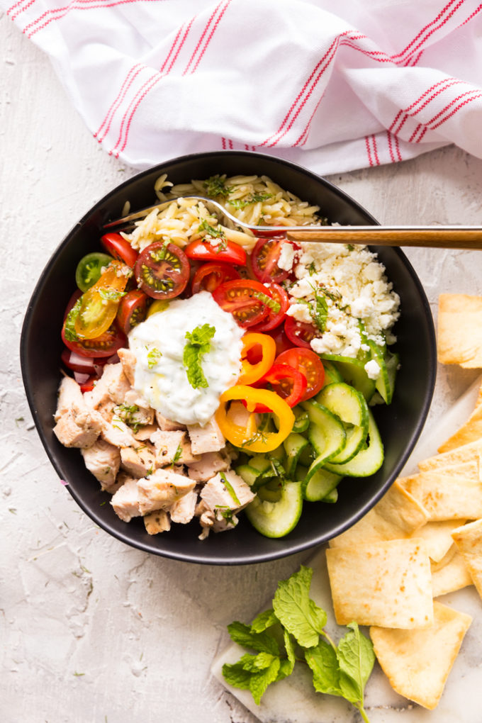 Greek Chicken Orzo Pasta Power bowl.
