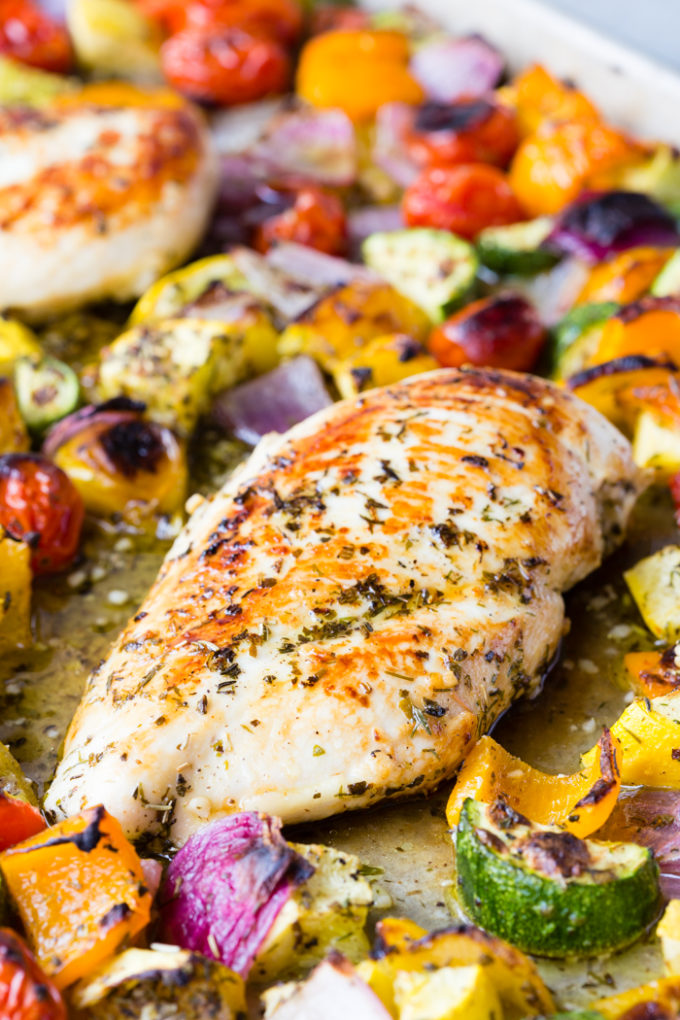 Greek chicken and veggies sheet pan meal