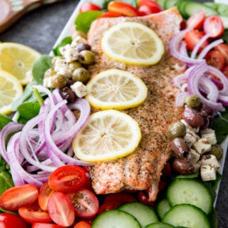 Easy Greek Salad with Salmon tomato, cucumber, onion, etc.