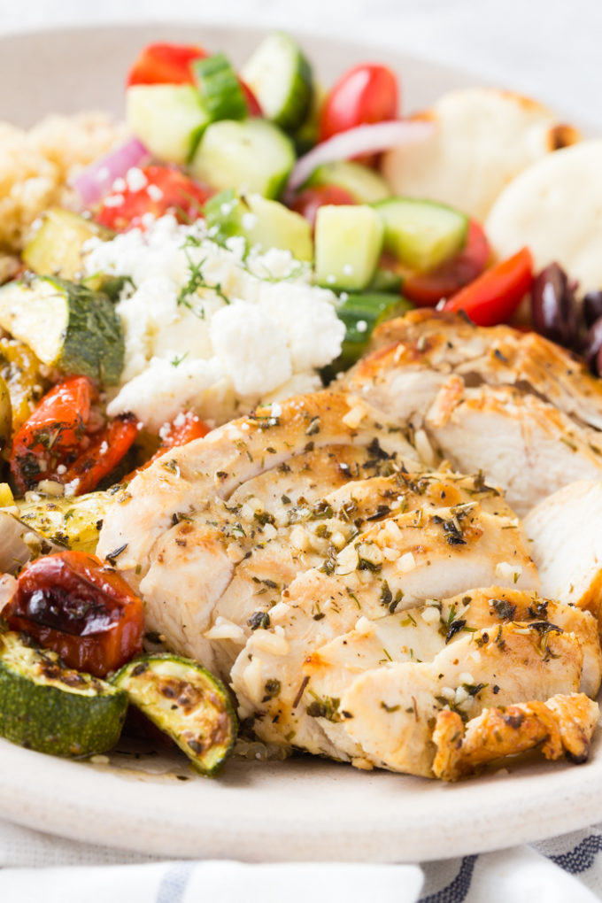 Grilled Greek Chicken Souvlaki power bowls