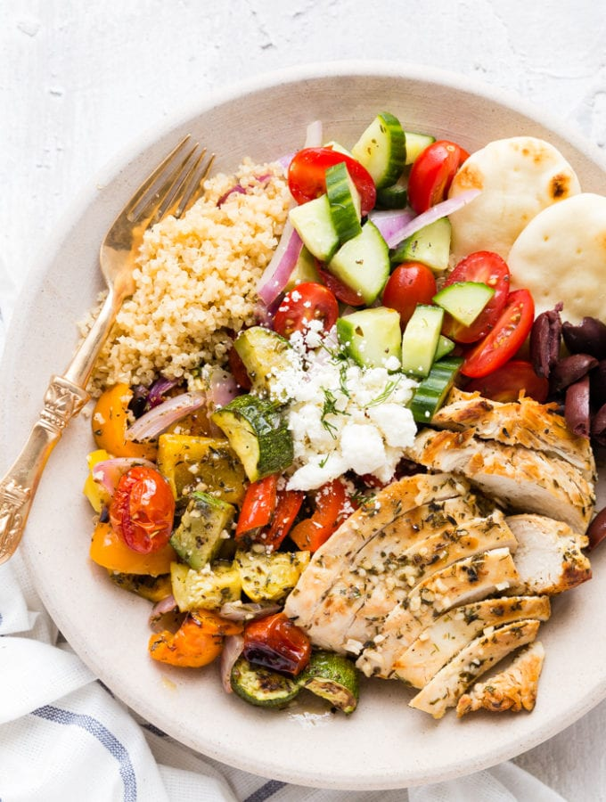 Greek Chicken Souvlaki Bowl