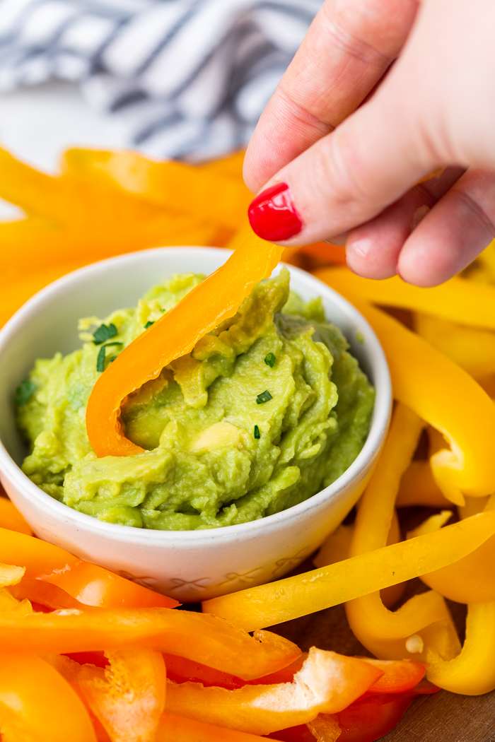 Guacamole and bell peppers are a keto or low carb snack