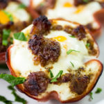 Sausage spinach and egg cups baked in the oven.