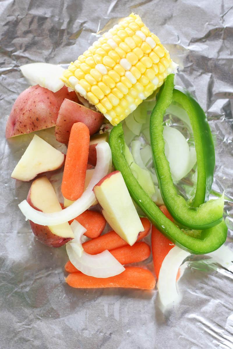 Hobo Potato Veggie Packets, camping dinner recipe, tinfoil dinner