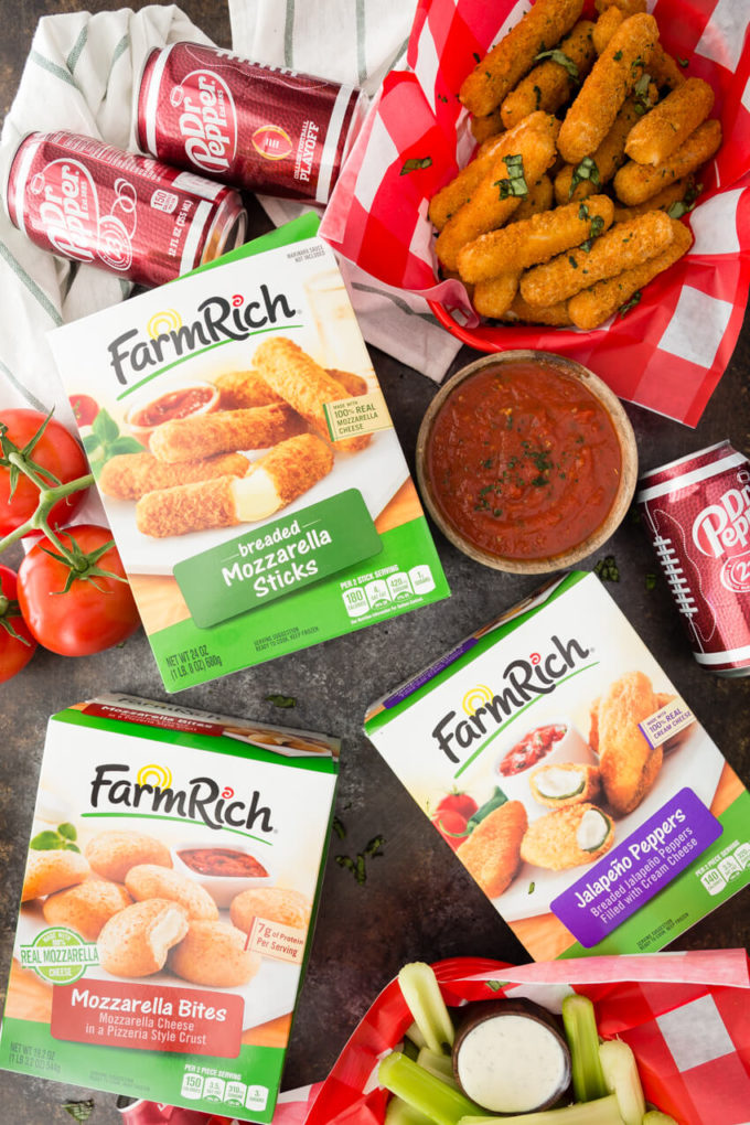 Farm rich snacks paired with homemade marinara