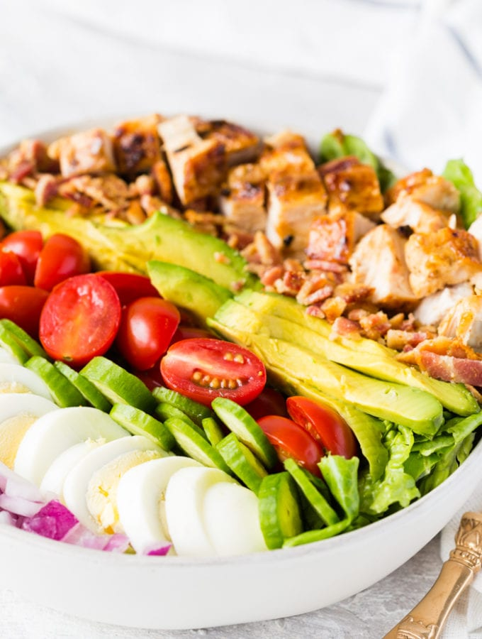 A delicious honey mustard chicken cobb salad